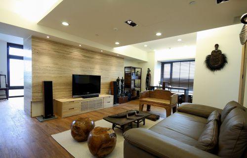 中式风格室内客厅真皮沙发装修效果图