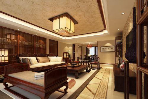 中式风格大别墅客厅原木色茶几效果图