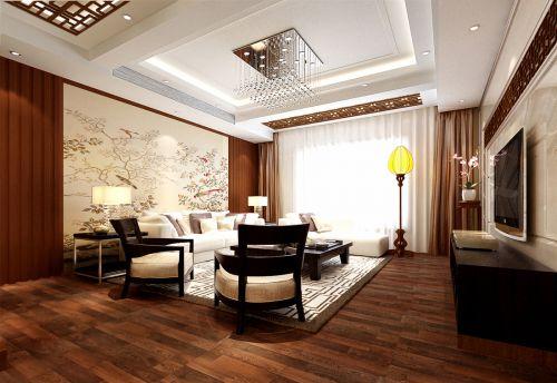 三居室白色中式风格客厅背景墙效果图