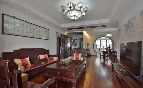 三居室咖啡色中式风格客厅电视柜效果图