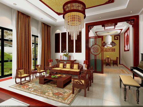新中式风格别墅客厅茶几装修效果图大全