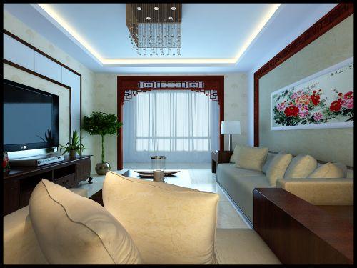 中式风格二居室客厅装修效果图大全