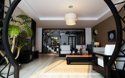中式风格四居室客厅走廊装修图片