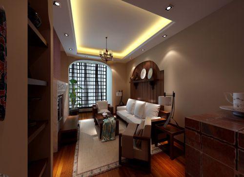 中式風格一居室客廳飄窗裝修效果圖大全