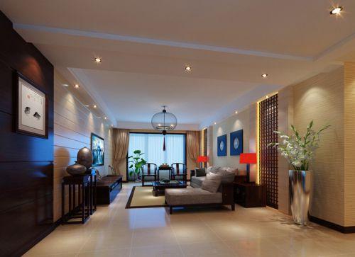 中式风格三居室客厅窗帘装修效果图大全