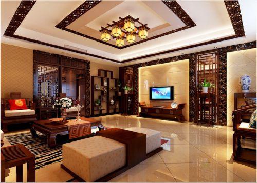 中式风格三居室客厅组合柜装修效果图大全