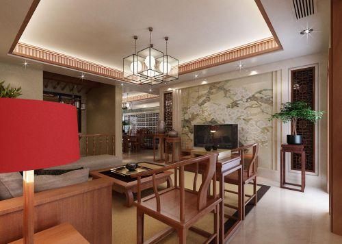中式风格180平米别墅客厅背景墙装修效果图