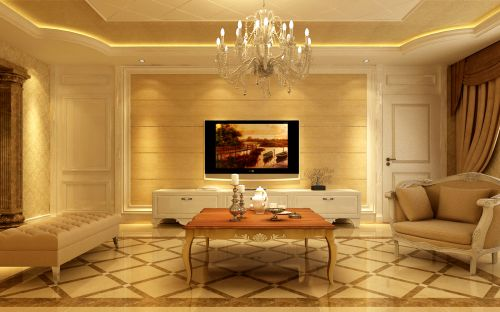欧式,奢华四居室客厅装修效果图