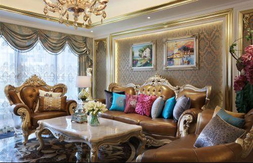 创意欧式风格客厅奢华沙发装修实景图