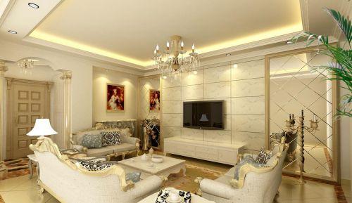 110平米豪华欧式风格三居室客厅隐形门装修效果图
