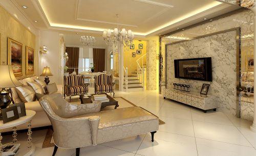 米色壁纸贴花欧式创意客厅背景墙装修设计