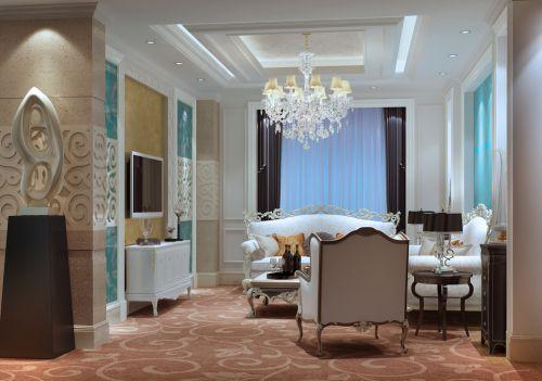 白色浪漫优雅欧式水晶灯沙发客厅装修效果图