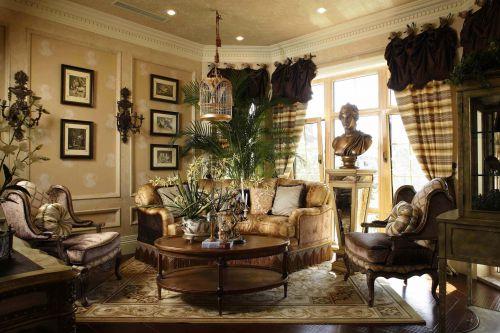 三居室欧式复古原木色客厅灯具效果图