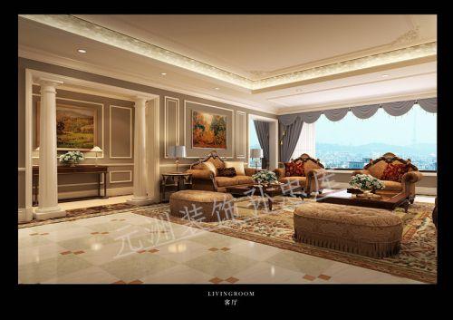 欧式奢华别墅客厅橱柜装修效果图