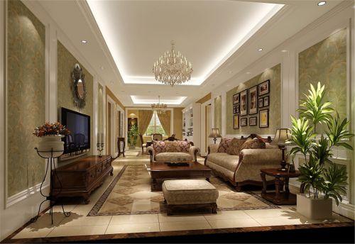 简约欧式三居室客厅装修效果图大全