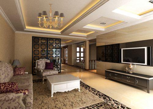 黑色质感隔断背景墙混搭欧式客厅装修效果图