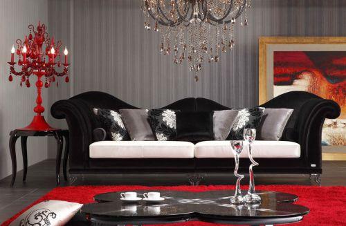 奢华欧式风格黑色客厅沙发效果图