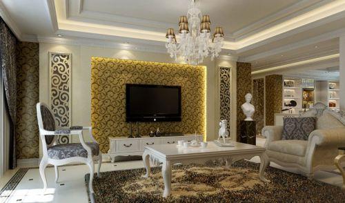 欧式风格三居室白色客厅茶几装修效果图