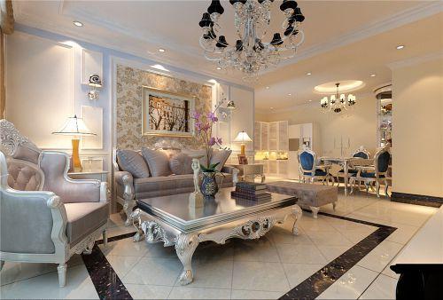 新古典欧式三居室客厅照片墙装修图片