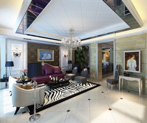 贵气典雅欧式风格房子设计客厅装修效果图
