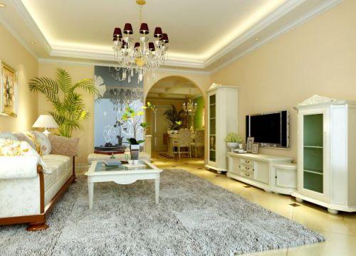 欧式古典三居室客厅装修效果图