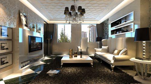 欧式,简约,清新四居室客厅装修效果图大全