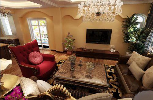 欧式风格四居室客厅装修图片欣赏