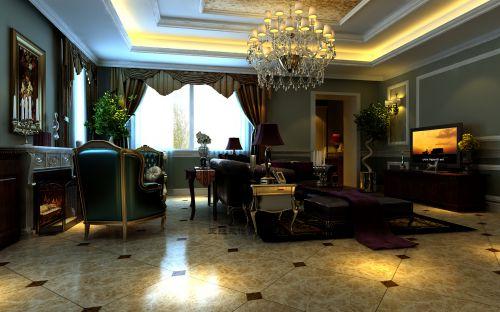 欧式新古典别墅客厅装修图片欣赏