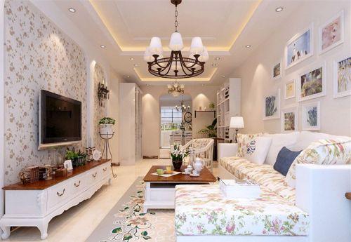 田园风格三居室客厅吊顶装修效果图欣赏