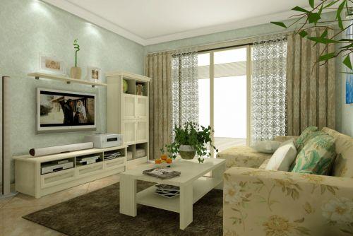 客厅田园风格白色时尚电视柜装修设计效果图