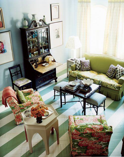 绿叶红花美式田园客厅装修效果图