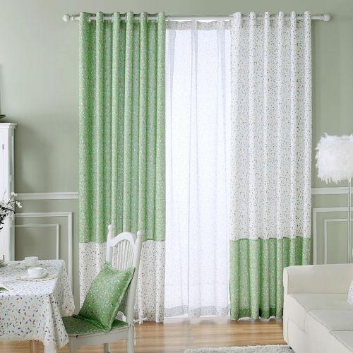 绿色创意田园碎花客厅窗帘效果图