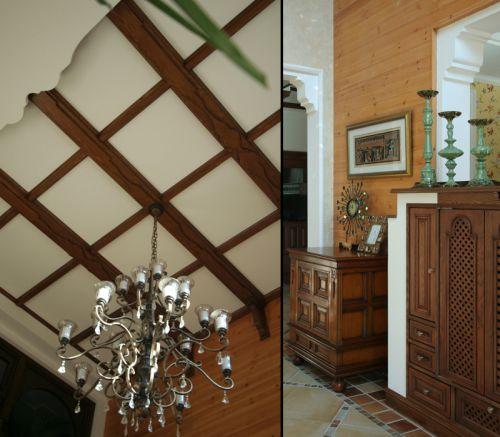 田园风格别墅客厅组合柜装修效果图欣赏