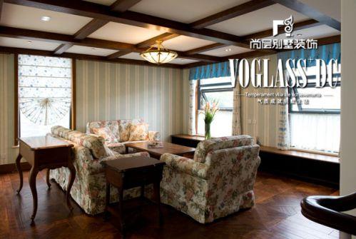 田园风格五居室客厅装修效果图欣赏