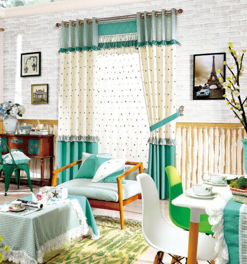 绿色白色田园波点小清新客厅窗帘效果图