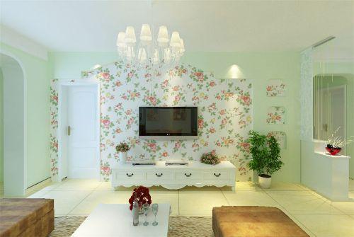 田园风格客厅碎花电视背景墙壁纸装修效果图