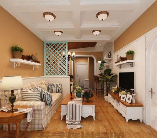 田园风格客厅白色吊顶效果图