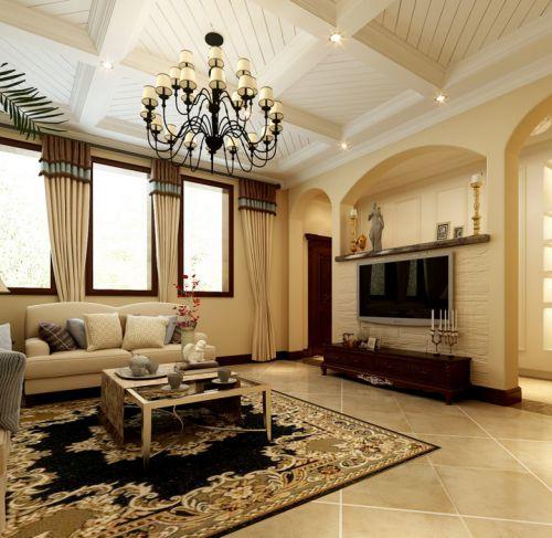田园风格四居室客厅背景墙装修效果图欣赏