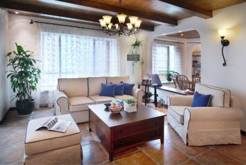 田园风格三居室客厅窗帘装修效果图