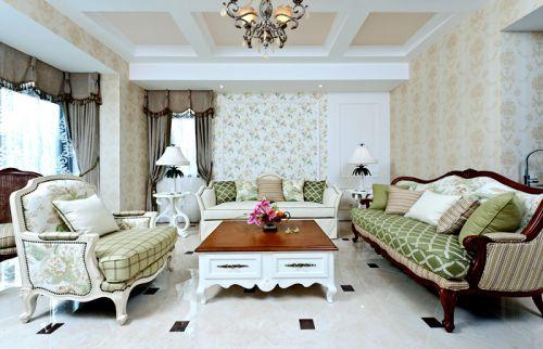 田园风格六居室客厅窗帘装修图片
