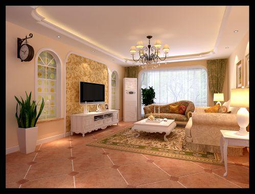 田园风格四居室客厅窗帘装修效果图大全