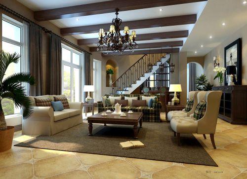 田园风格四居室客厅楼梯装修效果图