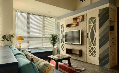 田园风格二居室客厅背景墙装修效果图欣赏
