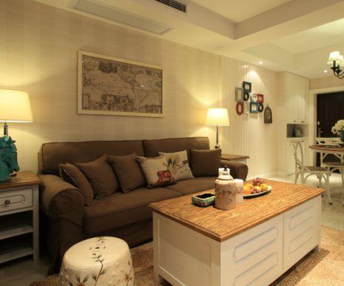 田园风格二居室客厅壁纸装修效果图欣赏