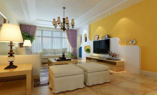 田园风格四居室客厅背景墙装修效果图大全