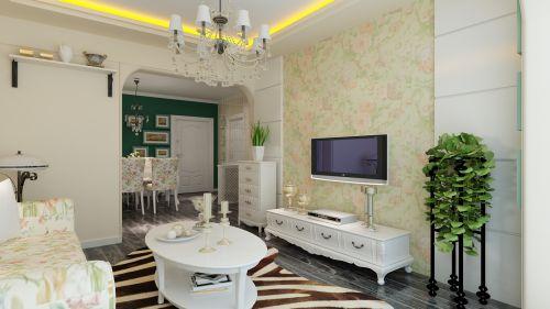 田园风格二居室客厅电视柜装修图片