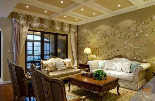 田园风格五居室客厅装修效果图