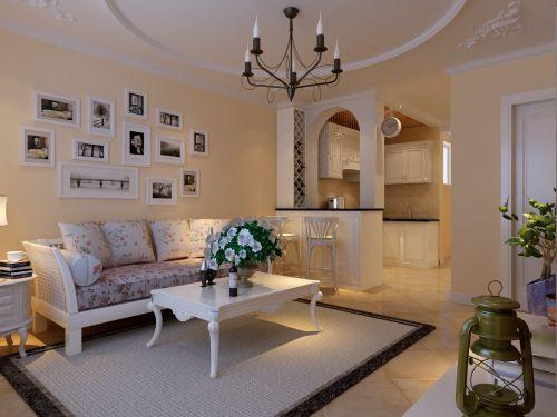 田园风格一居室客厅背景墙装修效果图大全