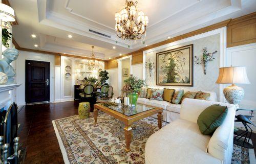 田园风格二居室客厅窗帘装修效果图大全