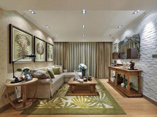 田园风格三居室客厅吊顶装修效果图